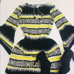 Flare Sleeves Yellow, Black & White  Shift- M